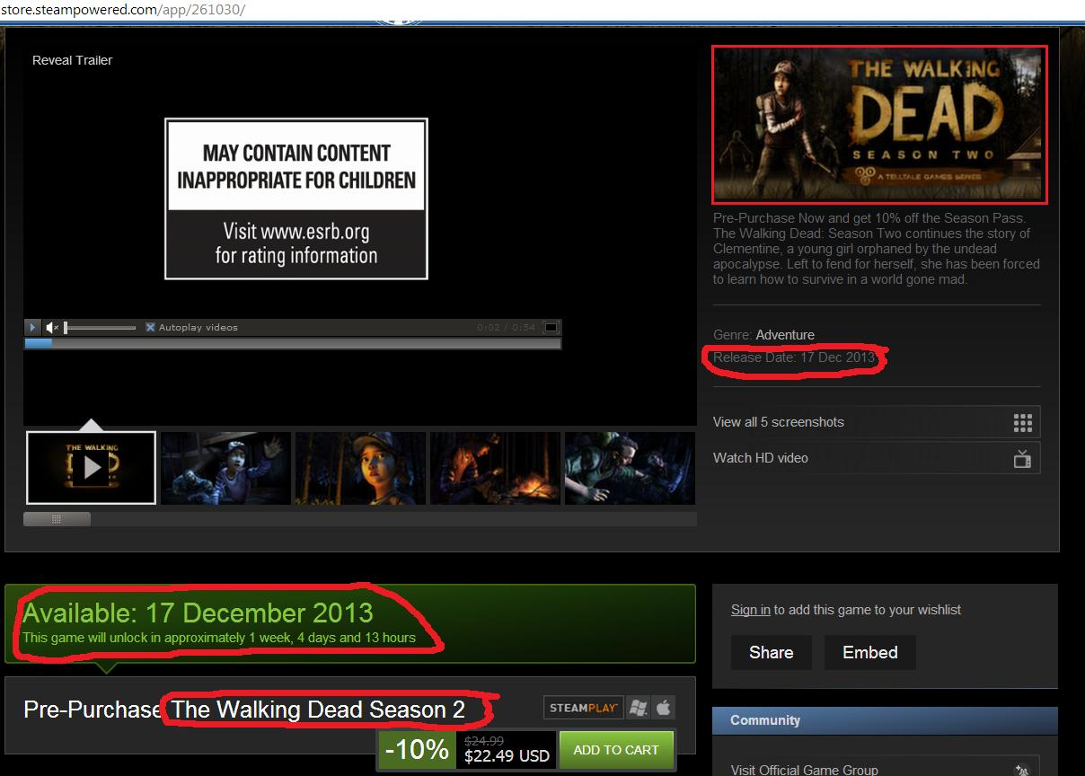 the walking dead season 2 steam release date