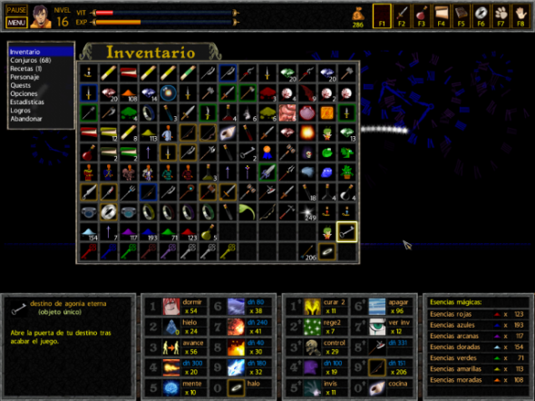 The game's inventory screen is a bit cluttered
