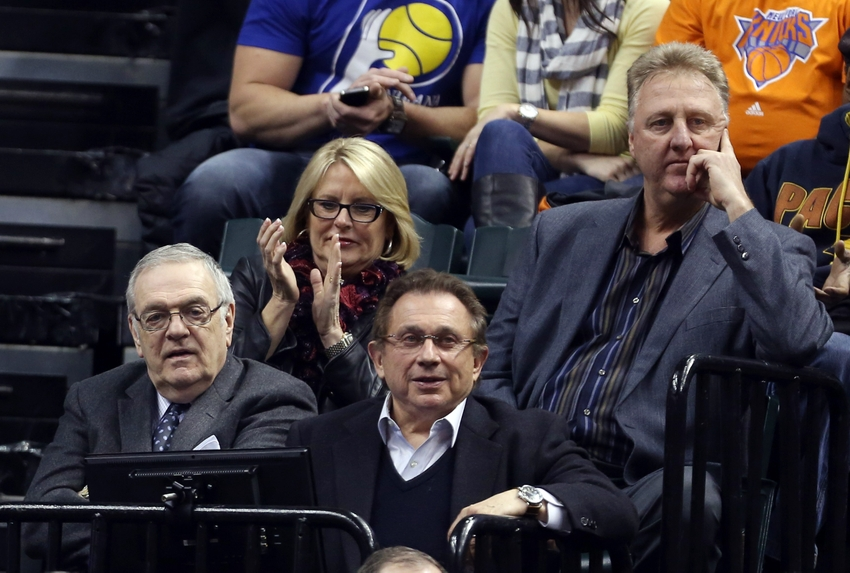 Jan 16, 2014; Indianapolis, IN, USA; Indiana Pacers from left to right general manager Donnie Walsh, owner Herb Simon, and president Larry Bird watch the Pacer play against the New York Knicks at Bankers Life Fieldhouse. Mandatory Credit: Brian Spurlock-USA TODAY Sports