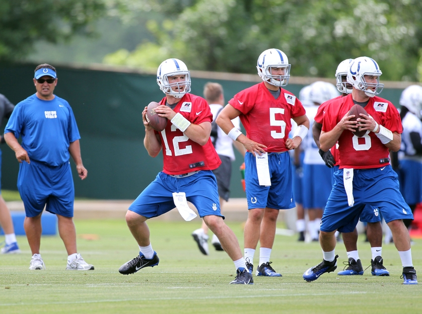 Jun 17, 2014; Indianapolis, IN, USA; Indianapolis Colts quarterback Andrew Luck (12) works out with back up quarterback Matt Hasselbeck (8) during minicamp at the Indiana Farm Bureau Football Center. Mandatory Credit: Brian Spurlock-USA TODAY Sports