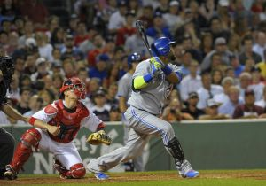 Jul 30, 2014; Boston, MA, USA; Toronto Blue Jays designated hitter Juan Francisco (47) hits an infield single during the fifth inning against the Boston Red Sox at Fenway Park. Mandatory Credit: Bob DeChiara-USA TODAY Sports