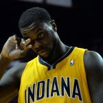 May 30, 2014; Miami, FL, USA; Indiana Pacers guard Lance Stephenson (1) wipes his face during a game against the Miami Heat in game six of the Eastern Conference Finals of the 2014 NBA Playoffs at American Airlines Arena. Mandatory Credit: Steve Mitchell-USA TODAY Sports
