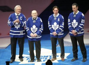 January 21, 2013; Toronto, ON, Canada; Toronto Maple Leafs alumni Daryl Sittler (27) and Johnny Bower (1) and Darcy Tucker (16) and Felix Potvin (29) at the opening ceremonies for a game against the Buffalo Sabres at the Air Canada Centre. Mandatory Credit: John E. Sokolowski-USA TODAY Sports