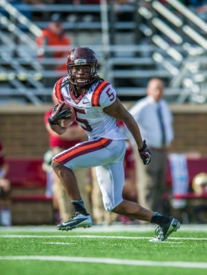 Nov 2, 2013; Boston, MA, USA; Virginia Tech Hokies wide receiver Joshua Stanford (5) runs for a 69 yard gain in the third quarter against the Boston College Eagles at Alumni Stadium. The Eagles defeated the Hokies 34-27. Mandatory Credit: Ed Wolfstein-USA TODAY Sports