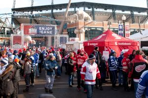 Dec 31, 2013; Detroit, MI, USA; Fans before the Alumni Showdown between the Detroit Red Wings and the Toronto Maple Leafs as part of the Winter Classic at Comerica Park. Mandatory Credit: Tim Fuller-USA TODAY Sports