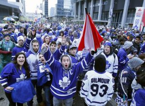 May 12, 2013; Toronto, Ontario, CAN; Toronto Maple Leafs fans gather outside the Air Canada Centre before game six of the first round of the 2013 Stanley Cup Playoffs against the Boston Bruins. Mandatory Credit: John E. Sokolowski-USA TODAY Sports