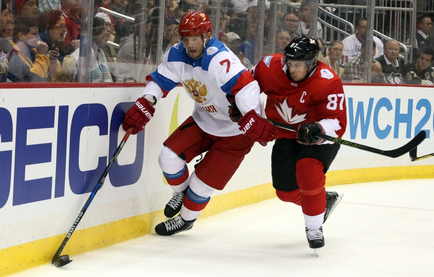 9540492-dmitry-kulikov-sidney-crosby-hockey-world-cup-of-hockey-pre-tournament-team-canada-vs-team-russia