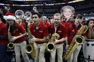 December 11, 2012; Pittsburgh, PA, USA; Duquesne Dukes band and student section fire up the crowd against the West Virginia Mountaineers during the second half at the CONSOL Energy Center. The Duquesne Dukes won 60-56. Mandatory Credit: Charles LeClaire-USA TODAY Sports