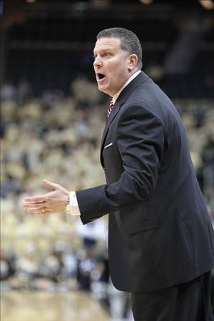 December 5, 2012; Pittsburgh, PA, USA; Duquesne Dukes head coach Jim Ferry reacts on the sidelines against the Pittsburgh Panthers during the first half at the CONSOL Energy Center. The Pittsburgh Panthers won 66-45. Mandatory Credit: Charles LeClaire-USA TODAY Sports
