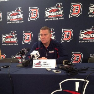 Jim Ferry at Duquesne's media day