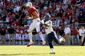 October 6, 2012; Stanford, CA, USA; Stanford Cardinal tight end Zach Ertz (86) catches a pass for 17 yards in front of Arizona Wildcats cornerback Wayne Capers (12) in the fourth quarter at Stanford Stadium. The Cardinal defeated the Wildcats 54-48. Mandatory Credit: Cary Edmondson-USA TODAY Sports