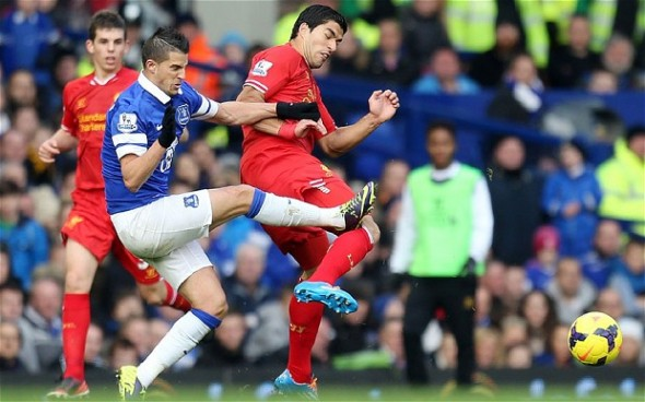 Mirallas' nasty tackle on Suarez. Photo: The Telegraph