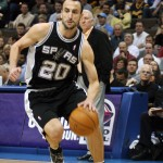 Manu driving to the hoop