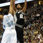 Tim Duncan goes up for a shot