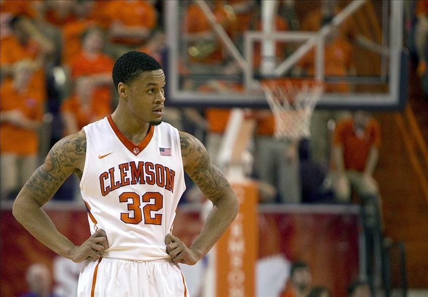 Feb 4, 2014; Clemson, SC, USA; Clemson Tigers forward K.J. McDaniels (32) reacts during the first half against the Georgia Tech Yellow Jackets at J.C. Littlejohn Coliseum. Mandatory Credit: Joshua S. Kelly-USA TODAY Sports