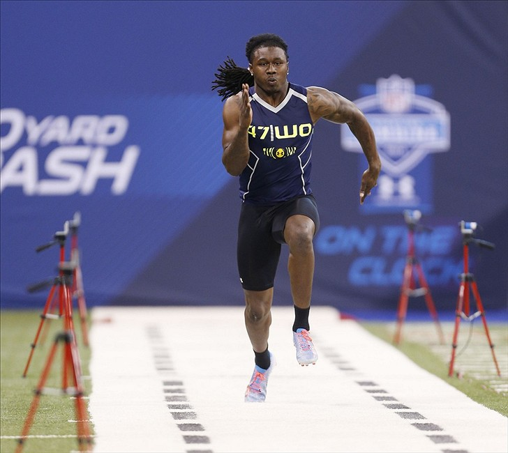 Feb 23, 2014; Indianapolis, IN, USA; Clemson Tigers wide receiver Sammy Watkins runs the 40 yard dash during the 2014 NFL Combine at Lucas Oil Stadium. Mandatory Credit: Brian Spurlock-USA TODAY Sports