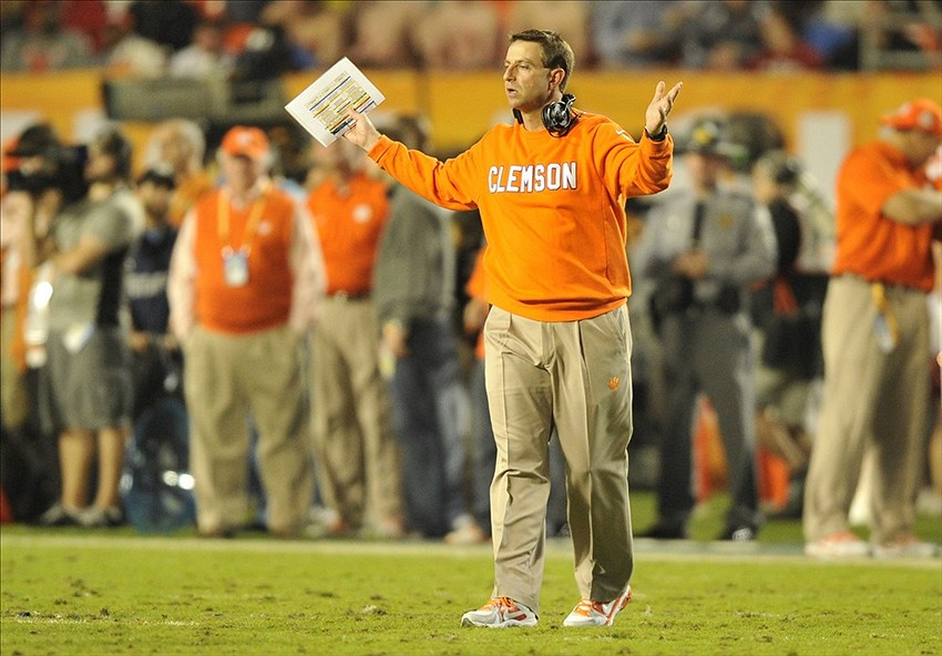 Jan 3, 2014; Miami Gardens, FL, USA; Clemson Tigers head coach Dabo Swinney reacts to a call in the first half of the 2014 Orange Bowl college football game against the Ohio State Buckeyes at Sun Life Stadium. Mandatory Credit: Brad Barr-USA TODAY Sports