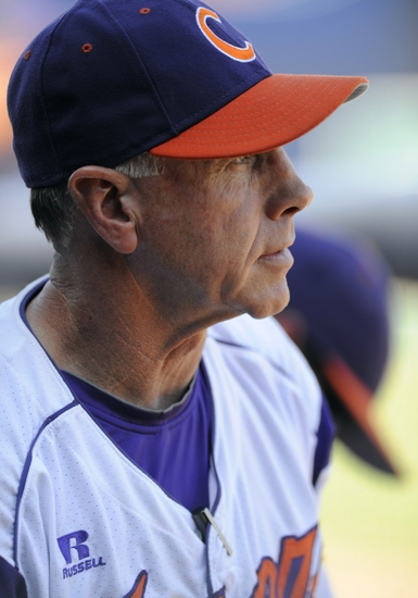May 25, 2013; Durham, NC, USA; Clemson Tigers coach Jack Leggett watches their game against the Miami Hurricanes during the ACC baseball tournament at Durham Bulls Athletic Park. Mandatory Credit: Liz Condo-USA TODAY Sports