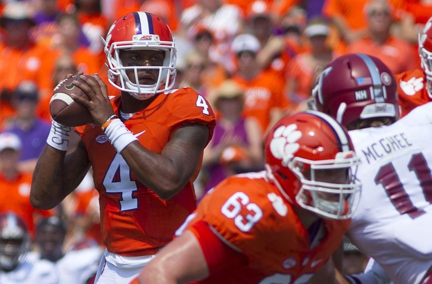 Sep 10, 2016; Clemson, SC, USA; Clemson Tigers quarterback Deshaun Watson (4) looks to pass the ball during the first quarter against the Troy Trojans at Clemson Memorial Stadium. Mandatory Credit: Joshua S. Kelly-USA TODAY Sports