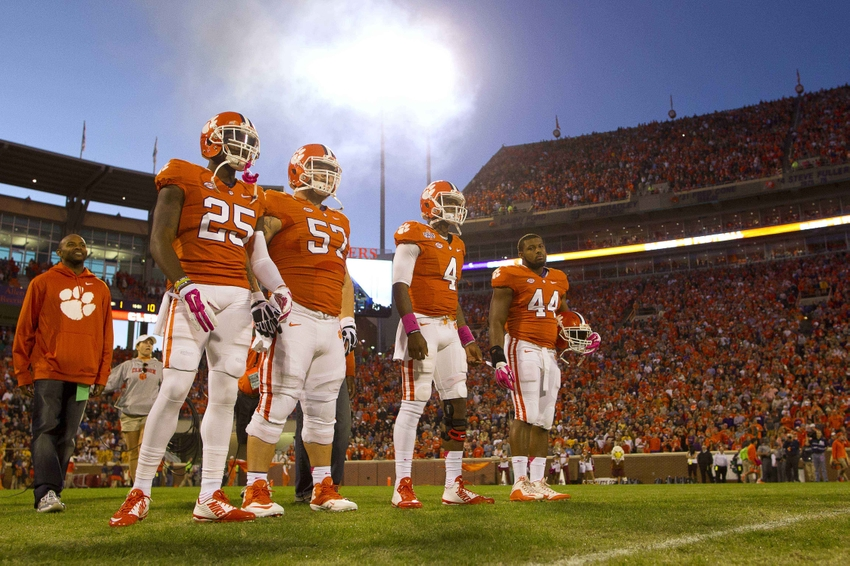 Oct 17, 2015; Clemson, SC, USA; Clemson Tigers cornerback Cordrea Tankersley (25), center Jay Guillermo (57), quarterback Deshaun Watson (4), and linebacker B.J. Goodson (44) during the pregame coin toss before the game against the Boston College Eagles at Clemson Memorial Stadium. Mandatory Credit: Joshua S. Kelly-USA TODAY Sports