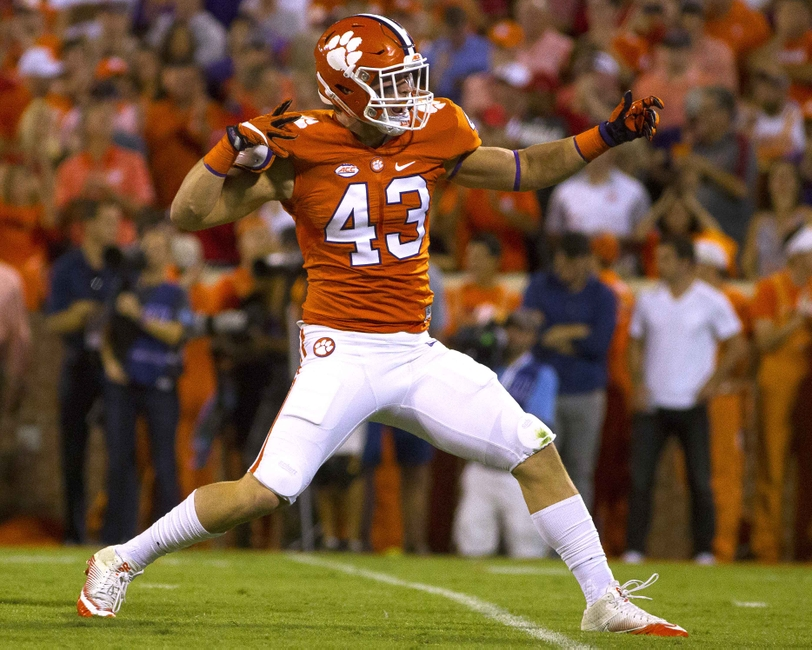 Oct 1, 2016; Clemson, SC, USA; Clemson Tigers linebacker Chad Smith (43) reacts after the play during the first quarter against the Louisville Cardinals at Clemson Memorial Stadium. Mandatory Credit: Joshua S. Kelly-USA TODAY Sports