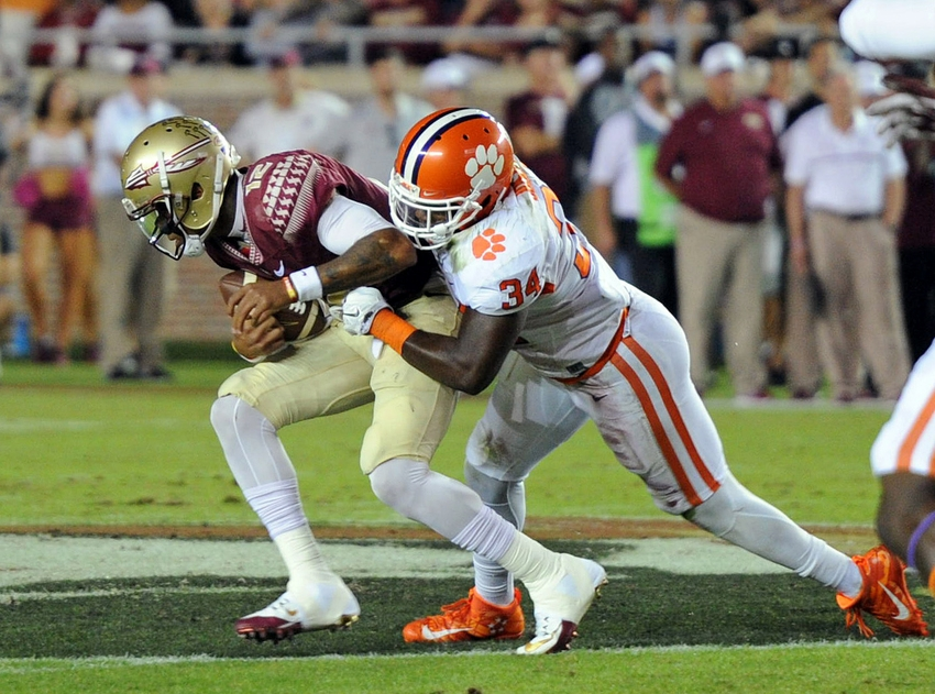 Oct 29, 2016; Tallahassee, FL, USA; Florida State Seminoles quarterback Deondre Francois (12) is sacked by Clemson Tigers linebacker Kendall Joseph (34) during the game at Doak Campbell Stadium. Mandatory Credit: Melina Vastola-USA TODAY Sports