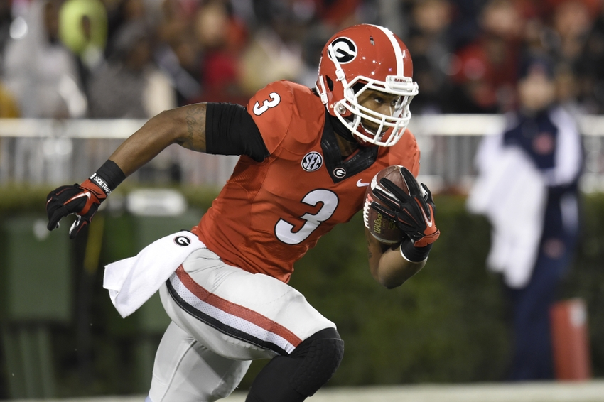 Nov 15, 2014; Athens, GA, USA; Georgia Bulldogs running back Todd Gurley (3) returns a kickoff against the Auburn Tigers during the first quarter at Sanford Stadium. Mandatory Credit: Dale Zanine-USA TODAY Sports