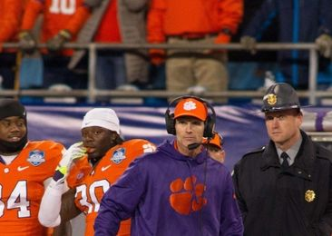 Dec 5, 2015; Charlotte, NC, USA; Clemson Tigers defensive coordinator Brent Venables looks on during the second half against the North Carolina Tar Heels in the ACC football championship game at Bank of America Stadium. Clemson defeated North Carolina 45-37. Mandatory Credit: Jeremy Brevard-USA TODAY Sports