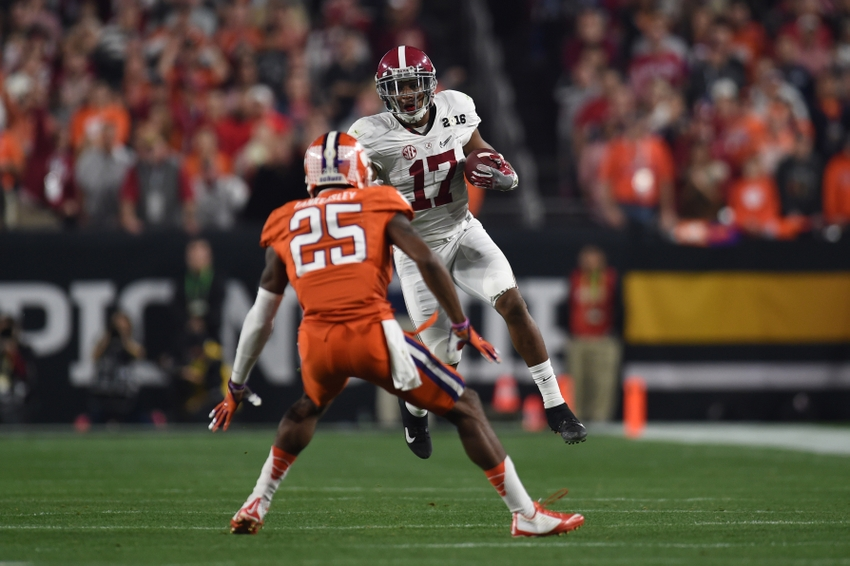 Jan 11, 2016; Glendale, AZ, USA; Alabama Crimson Tide running back Kenyan Drake (17) runs with the ball against Clemson Tigers cornerback Cordrea Tankersley (25) during the 2016 CFP National Championship at U. of Phoenix Stadium. Mandatory Credit: Joe Camporeale-USA TODAY Sports