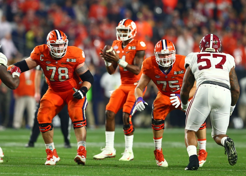 Jan 11, 2016; Glendale, AZ, USA; Clemson Tigers offensive lineman Eric Mac Lain (78) and offensive lineman Mitch Hyatt (75) against the Alabama Crimson Tide in the 2016 CFP National Championship at University of Phoenix Stadium. Mandatory Credit: Mark J. Rebilas-USA TODAY Sports