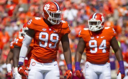 Sep 10, 2016; Clemson, SC, USA; Clemson Tigers defensive end Clelin Ferrell (99) reacts prior to the snap against the Troy Trojans during the first quarter at Clemson Memorial Stadium. Mandatory Credit: Joshua S. Kelly-USA TODAY Sports