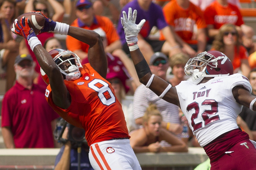 Sep 10, 2016; Clemson, SC, USA; Clemson Tigers wide receiver Deon Cain (8) catches a touchdown pass during the second half against the Troy Trojans at Clemson Memorial Stadium. Mandatory Credit: Joshua S. Kelly-USA TODAY Sports