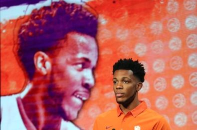 Oct 26, 2016; Charlotte, NC, USA; Jaron Blossomgame of the Clemson Tigers speaks to the media during ACC Operation Basketball at The Ritz-Carlton. Mandatory Credit: Jim Dedmon-USA TODAY Sports