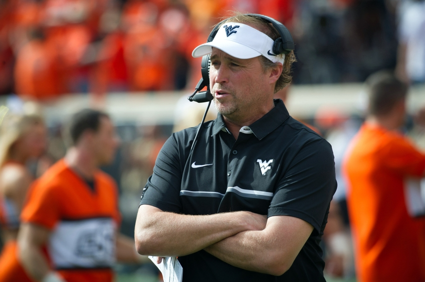 Oct 29, 2016; Stillwater, OK, USA; West Virginia Mountaineers head coach Dana Holgorsen during the game against the Oklahoma State Cowboys at Boone Pickens Stadium. Mandatory Credit: Rob Ferguson-USA TODAY Sports