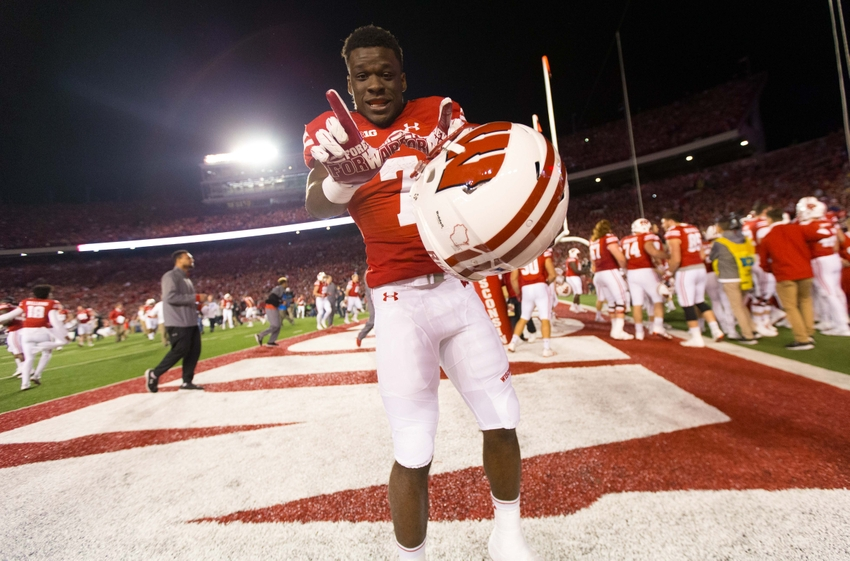 Oct 29, 2016; Madison, WI, USA; Wisconsin Badgers running back Bradrick Shaw (7) celebrates following the game against the Nebraska Cornhuskers at Camp Randall Stadium. Wisconsin won 23-17. Mandatory Credit: Jeff Hanisch-USA TODAY Sports