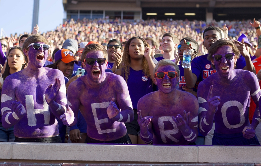 Nov 5, 2016; Clemson, SC, USA; Clemson Tigers fans cheer after a touchdown during the first quarter against the Syracuse Orange at Clemson Memorial Stadium. Mandatory Credit: Joshua S. Kelly-USA TODAY Sports