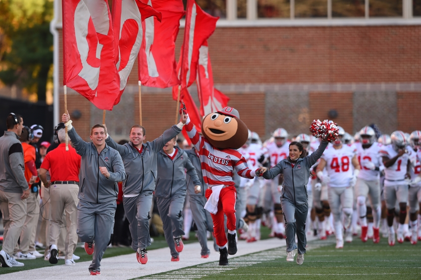 Nov 12, 2016; College Park, MD, USA; Ohio State Buckeyes runs onto the field prior to the game against the Maryland Terrapins at Capital One Field at Maryland Stadium. Ohio State Buckeyes defeated Maryland Terrapins 66-3.Mandatory Credit: Tommy Gilligan-USA TODAY Sports