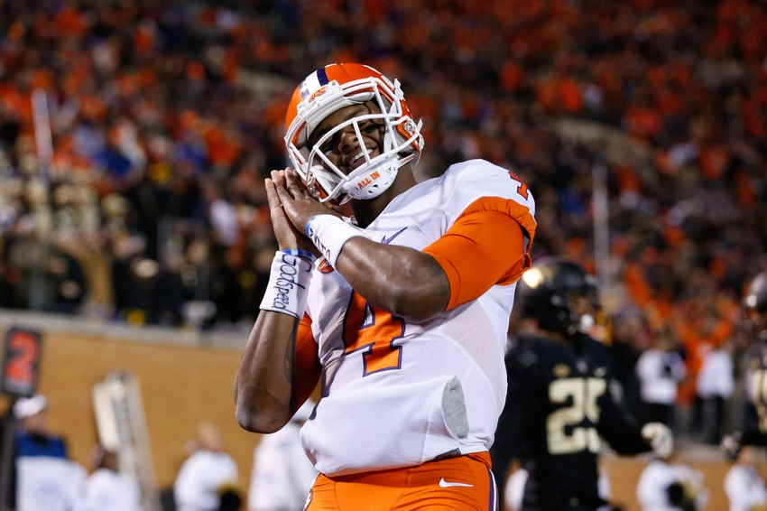 Nov 19, 2016; Winston-Salem, NC, USA; Clemson Tigers quarterback Deshaun Watson (4) celebrates after a touchdown in the second quarter against the Wake Forest Demon Deacons at BB&T Field. Mandatory Credit: Jeremy Brevard-USA TODAY Sports