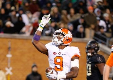 Nov 19, 2016; Winston-Salem, NC, USA; Clemson Tigers running back Wayne Gallman (9) celebrates after a touchdown in the third quarter against the Wake Forest Demon Deacons at BB&T Field. Clemson defeated Wake 35-13. Mandatory Credit: Jeremy Brevard-USA TODAY Sports