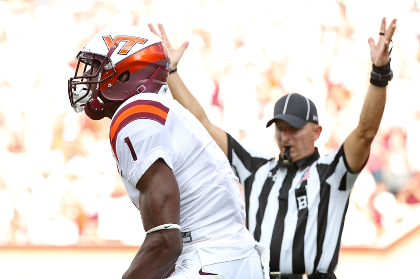Sep 17, 2016; Blacksburg, VA, USA; Virginia Tech Hokies wide receiver Isaiah Ford (1) celebrates after scoring a touchdown during the second quarter against the Boston College Eagles at Lane Stadium. Mandatory Credit: Peter Casey-USA TODAY Sports