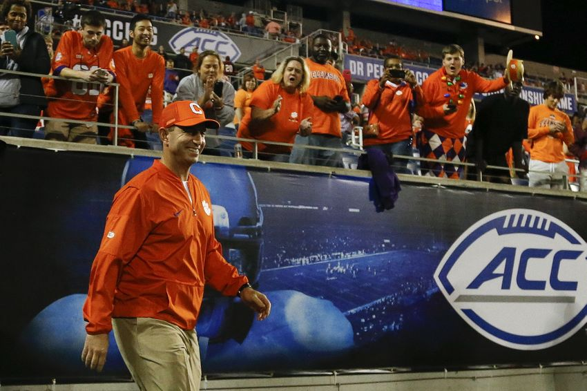 Dec 3, 2016; Orlando, FL, USA; Clemson Tigers head coach Dabo Swinney walks out for warm ups prior to a game against the Virginia Tech Hokies during the ACC Championship college football game at Camping World Stadium. Mandatory Credit: Logan Bowles-USA TODAY Sports