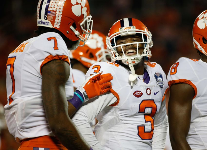 Dec 3, 2016; Orlando, FL, USA;Clemson Tigers wide receiver Artavis Scott (3) and wide receiver Mike Williams (7) talk against the Virginia Tech Hokies prior to the ACC Championship college football game at Camping World Stadium. Mandatory Credit: Kim Klement-USA TODAY Sports