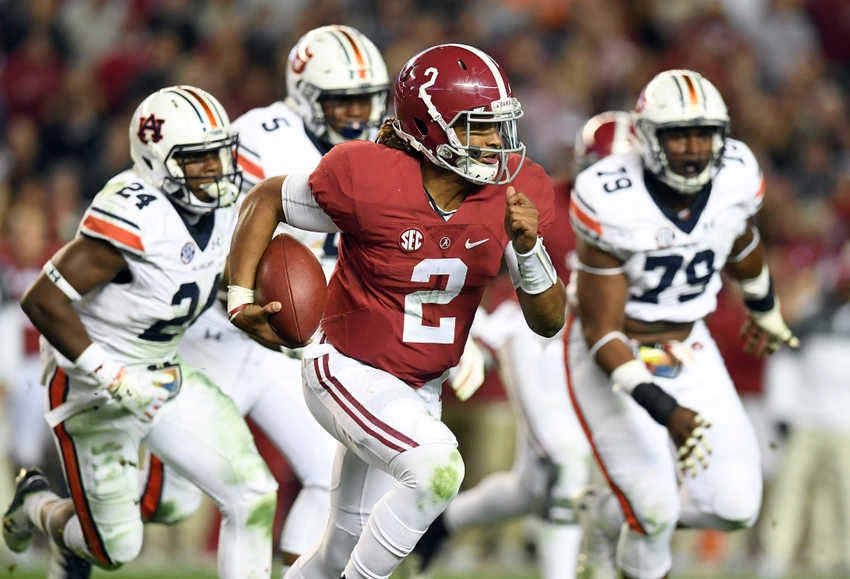 Nov 26 2016 Tuscaloosa AL USA Alabama Crimson Tide quarterback Jalen Hurts scrambles up the field against the Auburn Tigers during the fourth quarter at Bryant Denny Stadium. Alabama defeated the Auburn Tigers 30-12. Mandatory Credit John David