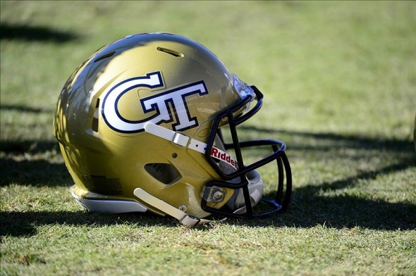 Oct 26, 2013; Charlottesville, VA, USA; Georgia Tech Yellow Jackets helmet on the sidelines during the game. The Yellow Jackets defeated the Virginia Cavaliers 35-25 at Scott Stadium. Mandatory Credit: Bob Donnan-USA TODAY Sports