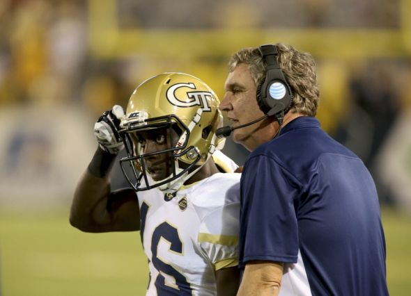 Sep 3, 2015; Atlanta, GA, USA; Georgia Tech Yellow Jackets head coach Paul Johnson gives a play to running back TaQuon Marshall (16) during the fourth quarter of their game against the Alcorn State Braves at Bobby Dodd Stadium. Georgia Tech won 69-6. Mandatory Credit: Jason Getz-USA TODAY Sports