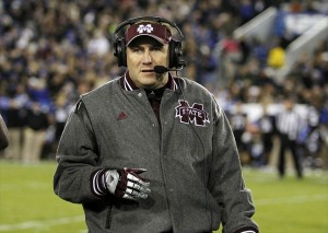 Oct 29, 2011; Lexington, KY, USA; Mississippi State Bulldogs head coach Dan Mullen coaches his team against the Kentucky Wildcats at Commonwealth Stadium. Mandatory Credit: Mark Zerof-USA TODAY Sports