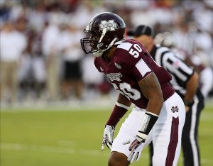 Sep 21, 2013; Starkville, MS, USA; Mississippi State Bulldogs linebacker Benardrick McKinney (50) prepares for the play during the game against the Troy Trojans at Davis Wade Stadium. Mississippi State won 62-7. Mandatory Credit: Spruce Derden-USA TODAY Sports