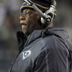 Dec 12, 2011; Seattle, WA, USA; St. Louis Rams running backs coach Sylvester Croom during the game against the Seattle Seahawks at CenturyLink Field. The Seahawks defeated the Rams 30-13. Mandatory Credit: Kirby Lee/Image of Sport-USA TODAY Sports