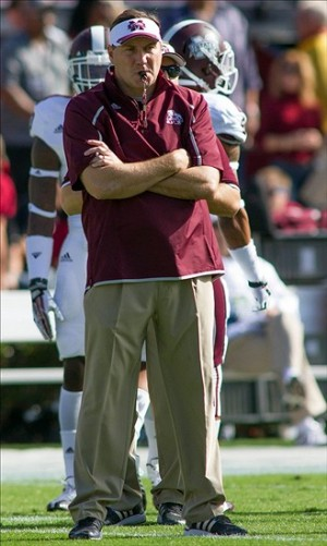 Nov 2, 2013; Columbia, SC, USA; Mississippi State Bulldogs head coach Dan Mullen stands on the field before the start of the game against the South Carolina Gamecocks at Williams-Brice Stadium. Mandatory Credit: Jeremy Brevard-USA TODAY Sports