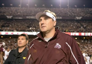Nov 9, 2013; College Station, TX, USA; Mississippi State Bulldogs head coach Dan Mullen walks off the field against the Texas A